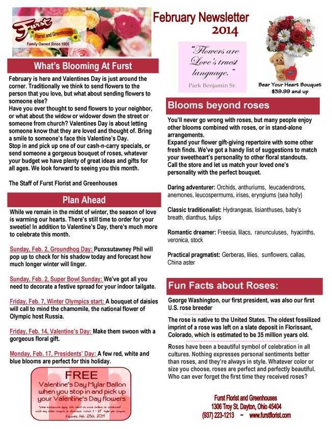 Furst Florist February Newsletter 2014